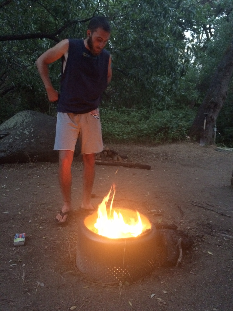 Jacob, our guide, setting up our campfire.