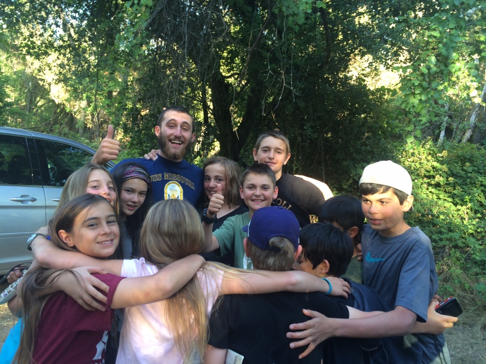 Time to say good-bye to our fearless camp leader and guide, Jacob! Group hug!